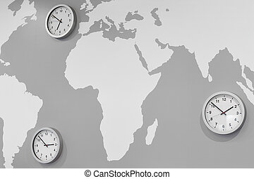 map., commerce mondial, temps, montres, global, zone