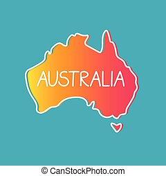 map-, contorno, illustrazione, australia, vettore