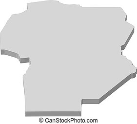 Map of Cordoba, a province of Argentina.