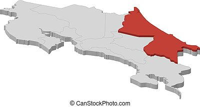 Map - Costa Rica, Limon - 3D-Illustration - Map of Costa ...