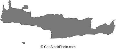 Map - Crete (Greece) - Map of Crete, a province of Greece.