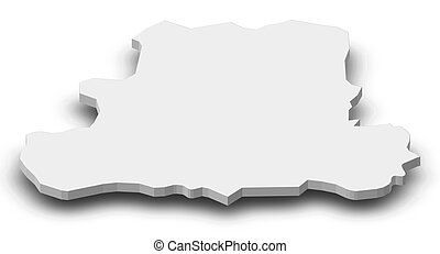 Map - Csongrad (Hungary) - 3D-Illustration - Map of...