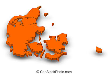 Map Danmark North Denmark 3d Illustration Map Of Danmark As