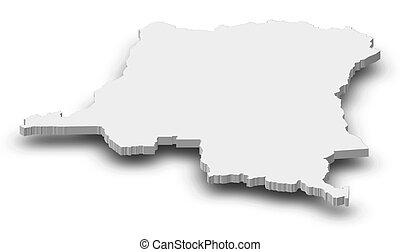 Map - Democratic Republic of the Congo - 3D-Illustration -...