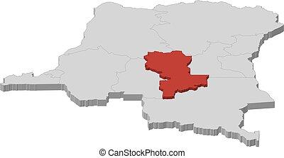 Map - Democratic Republic of the Congo, Kasai-Oriental - 3D-...