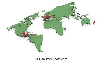 map depicting locations of H1N1 swine flu outbreak - map...