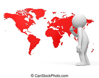 map - a people is standing in front of the world map...