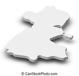 Map - Dublin (Ireland) - 3D-Illustration - Map of Dublin, a...