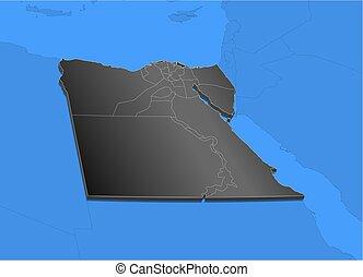 Clip Art Vector Of Map Egypt Luxor DIllustration Map Of - Map of egypt 3d