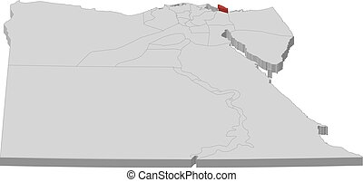 Map - Egypt, Port Said - 3D-Illustration - Map of Egypt as a...