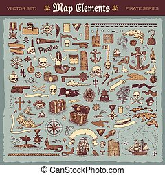 Map elements and pirate items