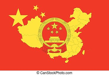 Map, emblem and flag of China