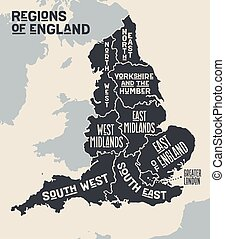Poster map of regions of England