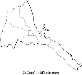 Map - Eritrea - Map of Eritrea, contous as a black line.