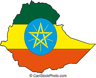 Map and Flag from Ethiopia