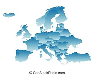 map Europe on a white background.