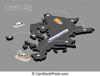 Map Europe isometric concept.