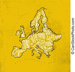 Map Europe vintage yellow