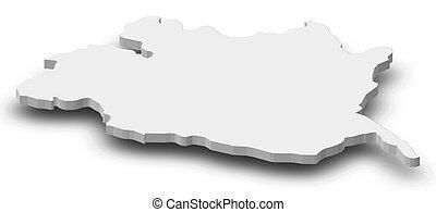 Map - Evora (Portugal) - 3D-Illustration - Map of Evora, a...
