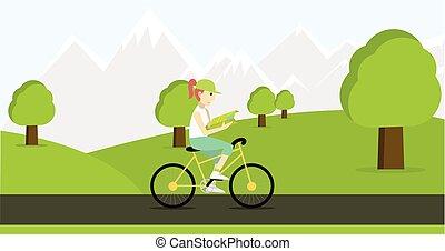 map., femme, vélo, jeune, équitation