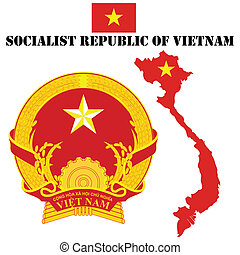 Vietnam - Map flag and coat of arms for Vietnam