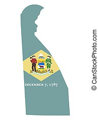 Map Flag of the US state of Delaware vector illustration