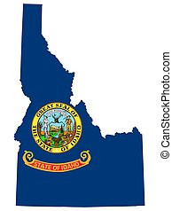 Map Flag of the US state of Idaho vector illustration.