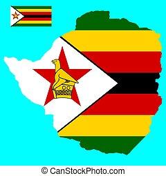 Map Flag of Zimbabwe Vector illustration Eps 10