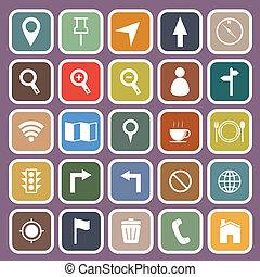 Map flat icon on purple background