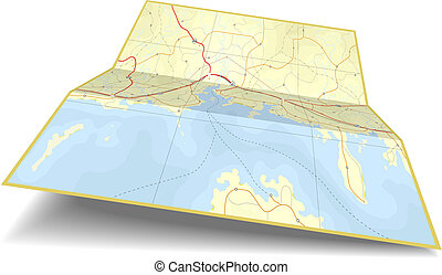 Generic editable vector illustration of a folding coastline map