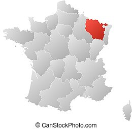 Map of France with the provinces, filled with a linear gradient, Lorraine is highlighted.