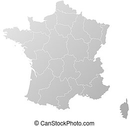 Grey france map Map of administrative divisions of france vector