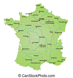 Stylized map of France showing provinces, cities and various rivers. All on white background. City names in french caption