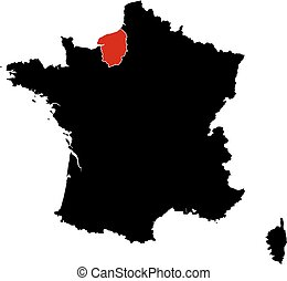Map - France, Upper Normandy - Map of France in black, Upper...