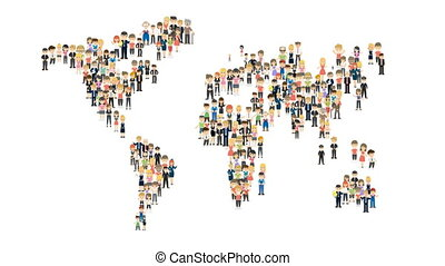 Map from the people. Cartoon flat animation of people...