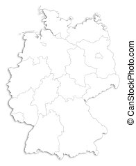 Map - Germany - Map of Germany as a white area over its...