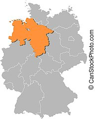 Map of Germany with the provinces, Lower Saxony is highlighted by orange.