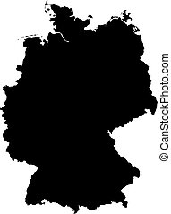 Map - Germany - Map of Germany in black.