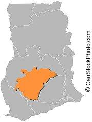 Map - Ghana, Ashanti