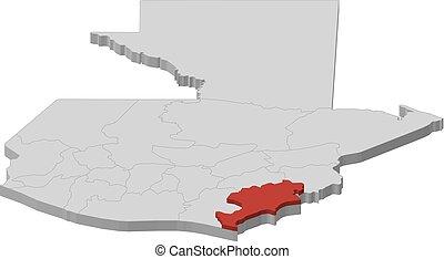 Map - Guatemala, Jutiapa - 3D-Illustration