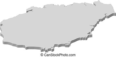 Map - Hainan (China) - 3D-Illustration - Map of Hainan, a...