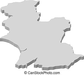 Map - Hawke's Bay (New Zealand) - 3D-Illustration - Map of ...