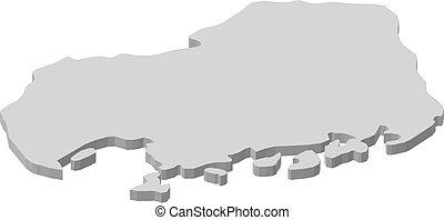 Map - Hiroshima (Japan) - 3D-Illustration - Map of...