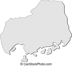Map - Hiroshima (Japan) - Map of Hiroshima, a province of...
