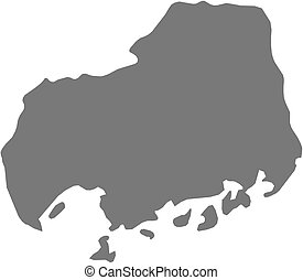 Map - Hiroshima (Japan) - Map of Hiroshima, a province of...