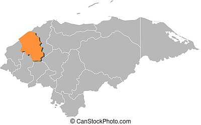 Map of Honduras with the provinces, Santa Barbara is highlighted by orange.