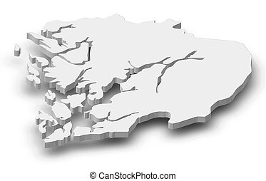 Hordaland region on administration map of norway Emblem of stock