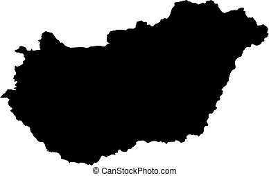 Map - Hungary - Map of Hungary in black.