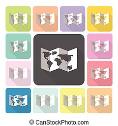 Map Icon color set vector illustration