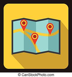 Map icon, flat style.